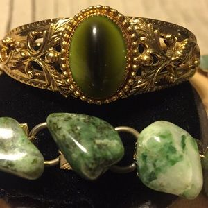 Vintage stone and cat eye bracelets